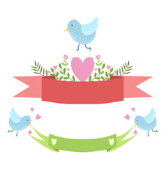 birds ribbons and hearts sticker template vector image