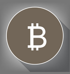 bitcoin sign white icon on brown circle vector image