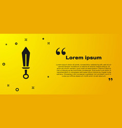 Black sword toy icon isolated on yellow background vector