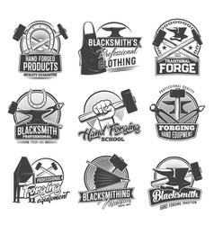 Blacksmith profession icons isolated set vector