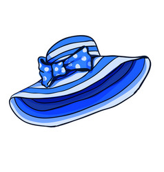 Blue stripped summer cartoon hat whit bow for game vector