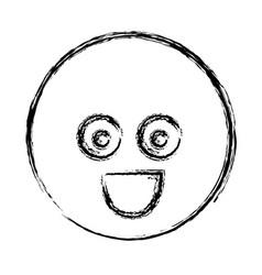 Blurred silhouette emoticon surprised face vector