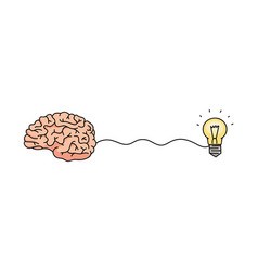 brain creating an idea - cartoon hand drawn icon vector image