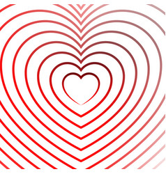 bright heart element with outlines in radial vector image