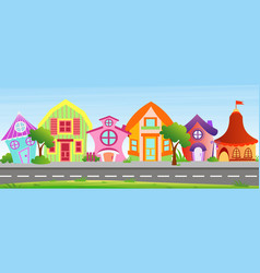 cartoon houses in bright vector image vector image