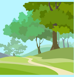 Cartoon summer background with green trees vector