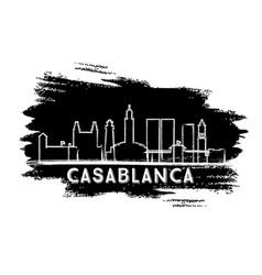 Casablanca morocco city skyline silhouette hand vector