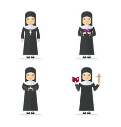 catholic nun character vector image