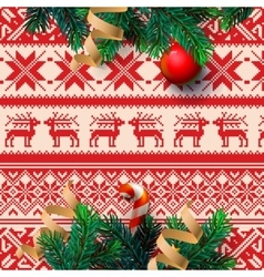 Christmas decoration with ornament background vector image