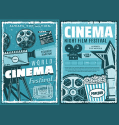 cinematography cinema retro movie festival vector image