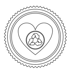 Circular frame contour with heart with recycling vector