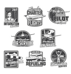 civil aviation and air travel airport services vector image