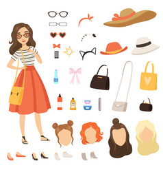 clothing of fashionable girl cartoon female vector image