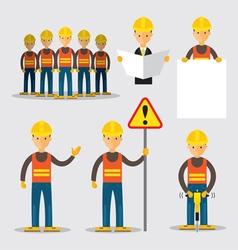 Construction Worker People Set vector image