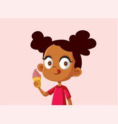 Cute african girl eating an ice cream vector