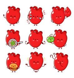 Cute healthy and unhealthy human heart organ set vector