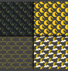 Different moon nature seamless pattern satellite vector