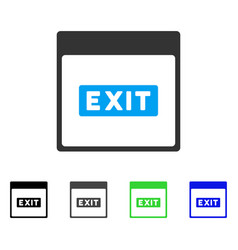 Exit caption calendar page flat icon vector