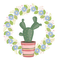 Exotic cactus plant in ceramic pot with floral vector