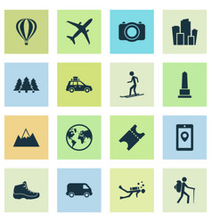 exploration icons set with monument mountains vector image