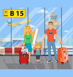 Family on the airport vector