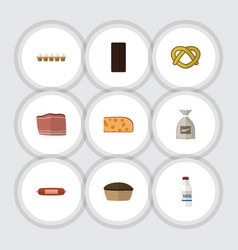 flat icon eating set of tart beef bottle and vector image