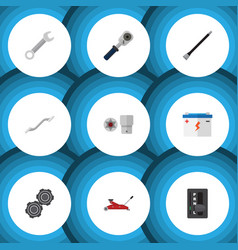 flat icon service set of turnscrew lifting vector image