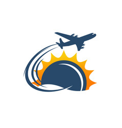 flight airport air plane bag silhouette logo vector image