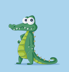 funny cartoon crocodile character vector image