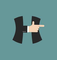 h letter businessman hand font it shows finger vector image