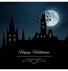 Halloween background castle night vector image