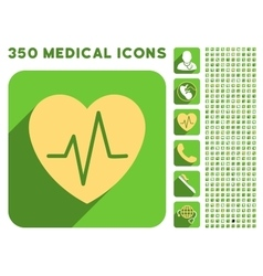 Heart Ekg Icon and Medical Longshadow Icon Set vector