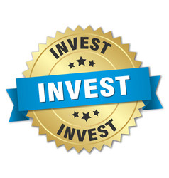 Invest 3d gold badge with blue ribbon vector