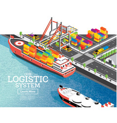 isometric sea port with container ship gantry vector image