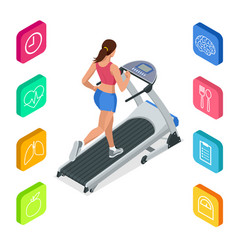 Isometric young woman in sportswear running vector