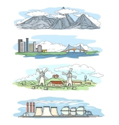 Landscapes in hand drawing style vector image