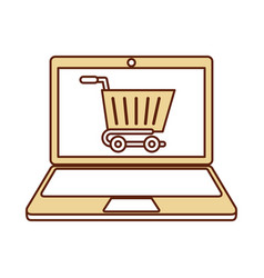 Laptop with ecommerce app vector