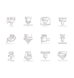 Lasers vintage icons set vector