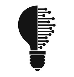 Lightbulb with microcircuit icon simple vector