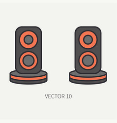 Line flat color computer part icon audio vector