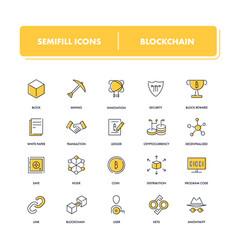Line icons set blockchain vector