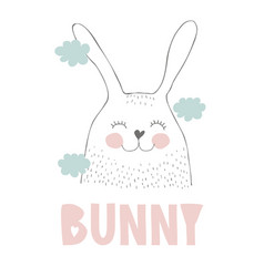 lovely hand drawn cute smiling bunny vector image