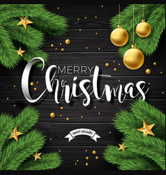merry christmas on vintage vector image