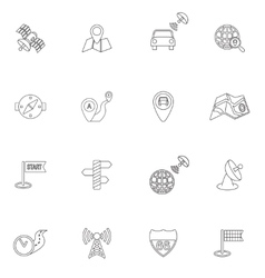 Mobile navigation icons outline vector image