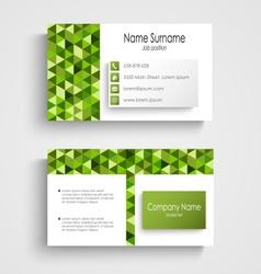 Modern business card with green a triangular vector