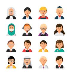 Occupations avatars waiter stewardess judge vector