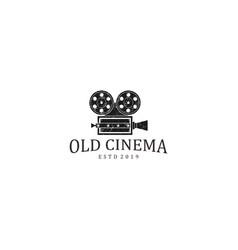 Old camera logo design - vintage style vector