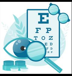 Ophthalmologist test myopia eye eye and vision vector