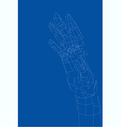 outline human hand wire-frame style vector image