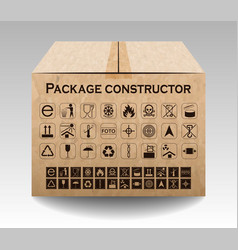 Package box isolated on white packaging symbols vector